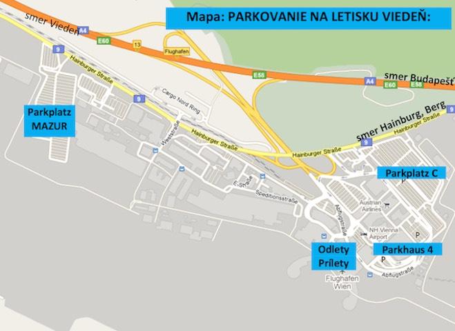 7b9d78ca61bd Mapa parkovania na letisku Viedeň